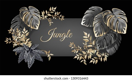 Template label dark leaves of tropical exotic plants. Flyer jungle with palm trees and lianas. Vector 3d illustration with space for text.