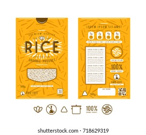 Template label and icons for rice packaging. Design with illustration in linocut style