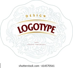 Template for label or logo with elegant light gray floral background for eco natural product.