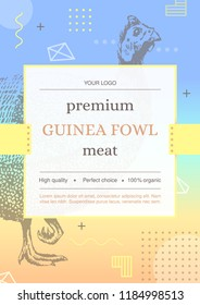 Template of label for packing of Guinea fowl meat. Hand drawn guinea fowl silhouette. Memphis style. Vector.