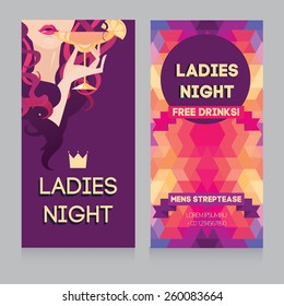 template for Ladies night party with beautiful girl drinking margarita, vector illustration