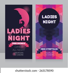 template for Ladies night party flyer, vector illustration