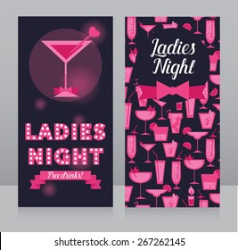template for Ladies night party flyer, bachelorette party invitation, vector illustration