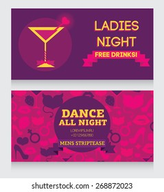 template for Ladies night party invitation, vector illustration