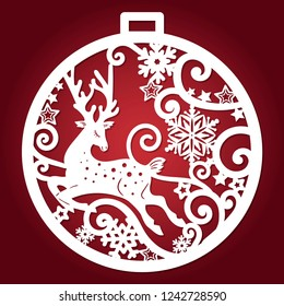 Template for laser cutting. Christmas ball with a deer and snowflakes. For design of cards, menu, Christmas decorations, etc. Vector