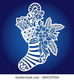Template for laser cutting. Christmas sock with gifts and decorations. For cutting from any material. For the design of cards, congratulations, Christmas tree decorations, interior elements. Vector