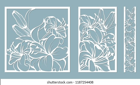 template for laser cutting and Plotter. Flowers, leaves, bouquet for decoration. Vector illustration. lily. plotter and screen printing. serigraphy.