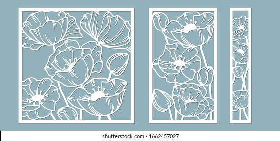 template for laser cutting and Plotter. Flowers, leaves, bouquet for decoration. Vector illustration. poppy flower. plotter and screen printing. serigraphy