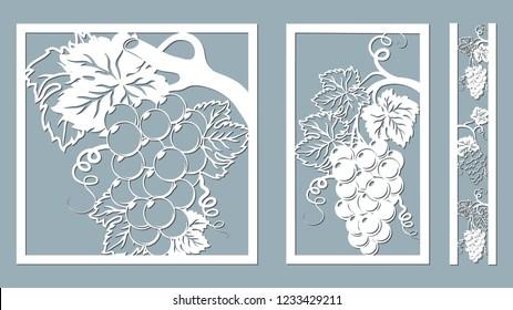 Template for laser cutting, plotter, and silkscreen printing. Vine Grape