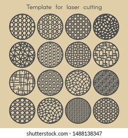Template for laser cutting.  Set round geometric pattern for cut. Vector illustration. Decorative cards.