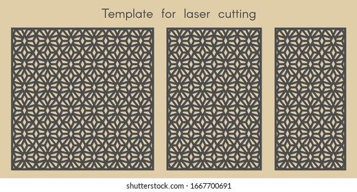 Template for laser cutting. Stencil for panels of wood, metal. Abstract background for cut. Decorative cards. Ratio 1:1, 2:3, 1:2. Vector illustration.