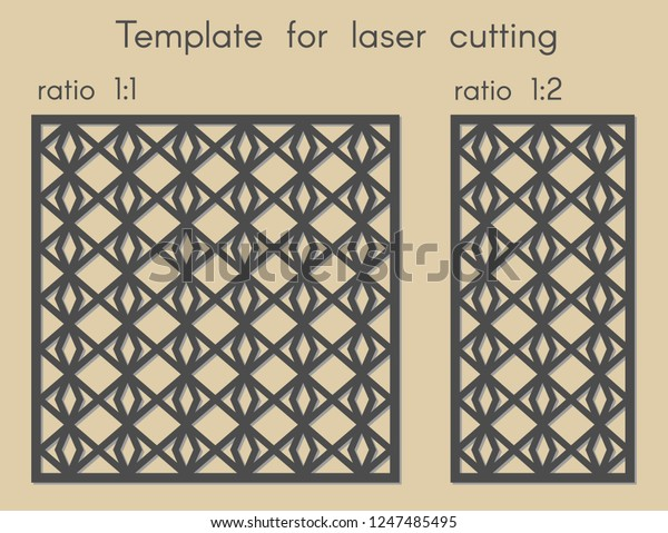 Template Laser Cutting Stencil Panels Wood Stock Vector