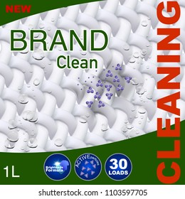 Template for laundry detergent. Package design for Washing Powder & Liquid Detergents. Stock vector