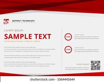 Template layout abstract technology triangles red color overlay header and footer on white background for ad, print, poster. magazine. website, leaflet, brochure, banner. Vector illustration