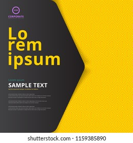 Template layout cover design presentation, brochure, poster, banner, leaflet, annual report on yellow hexagon pattern background. Vector illustration