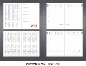 Template for layout of the Diary planner for any year. Design office book to every day with page templates, personal data and calendar data made in program for typesetting