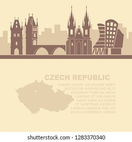 The template of the leaflets with architectural attractions of Prague and a map of the Czech Republic