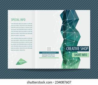 Template light vector design for trifold brochure with colorful polygons and white polygonal grid. Editable, bright. Proportionally for A4 size