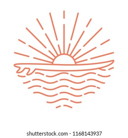 Template linear logo with surf board and sea sunrise on white background. Flat line style icon. Vector illustration.