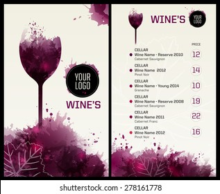 Template list or wine tasting. Illustration glass of wine. Background with wine stains, expressive texture. Vector