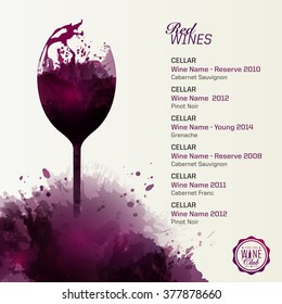 Template list or wine tasting. Illustration glass of wine. Artistic design background with wine stains. Vector