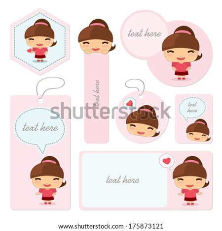 template a little girl with text frame tag bookmark and sign