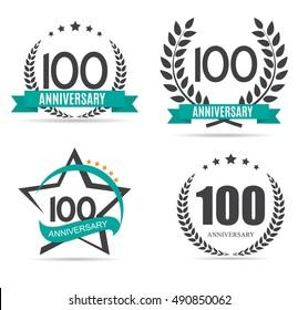 Template Logo 100 Years Anniversary Set Vector Illustration EPS10