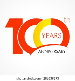 Template logo 100th anniversary with a circle in the form of a graph and the number 1. 100 years anniversary logo. 100 jubilee design, number 100 vector, 100 follow gratitude