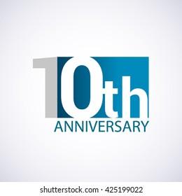Template Logo 10th anniversary. Blue colored.