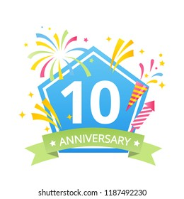 Template Logo 10th anniversary with fireworks and number10 in it and labeled the anniversary year.Vector temlate
