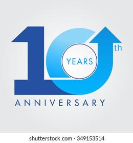 Template logo 10th anniversary vector illustrator.celebration logo color number design,
