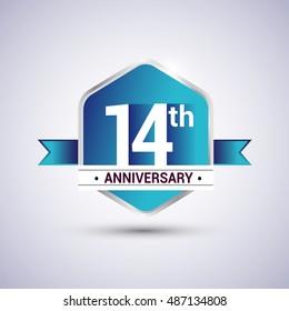 Template Logo 14th anniversary celebration. Blue and silver colored hexagon shape, vector design.