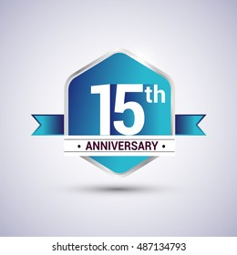 Template Logo 15th anniversary celebration. Blue and silver colored hexagon shape, vector design.