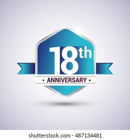 Template Logo 18th anniversary celebration. Blue and silver colored hexagon shape, vector design.
