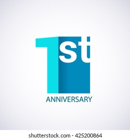 Template Logo 1st anniversary. Blue colored.
