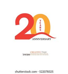 Template logo 20th anniversary. 20 years anniversary logo. Celebration 20 years. .20 birthday symbol.vector illustration.