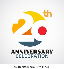 Template Logo 20th anniversary with a circle and the number 20 in it and labeled the anniversary year.