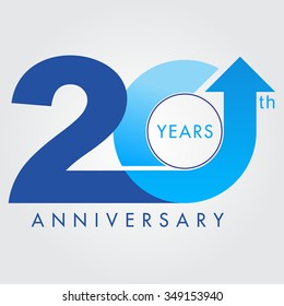 Template logo 20th anniversary vector illustrator.celebration logo color number design,