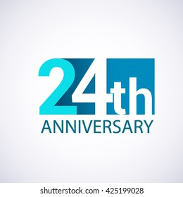 Template Logo 24th anniversary blue colored vector design for birthday celebration.