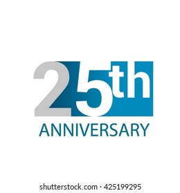 Template Logo 25th anniversary. Blue colored.