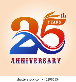 Template logo 25th anniversary, celebration logo color anniversary vector illustrator