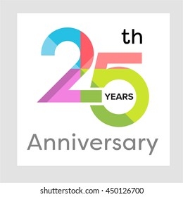 Template logo 25th anniversary with a circle, number 2 and 5 colorful vector illustration