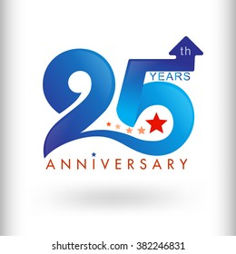 Template logo 25th anniversary vector illustrator.celebration logo color number design, anniversary with arrow and star