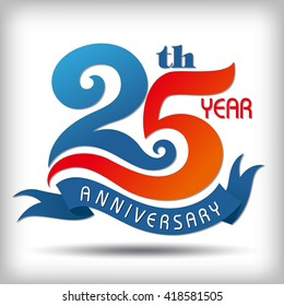 Template logo 25th anniversary  vector illustrator.celebration logo color number design, anniversary with ribbon