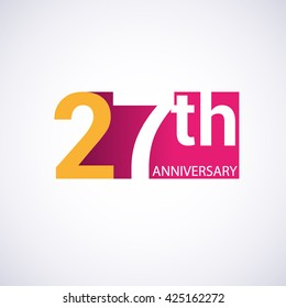 Template Logo 27th anniversary, red colored vector design for birthday celebration