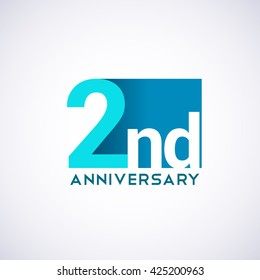 Template Logo 2nd anniversary. Blue colored.