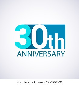 Template Logo 30th anniversary. Blue colored.