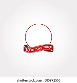 Template Logo 30th anniversary with a circle and the number 30 in it and labeled the anniversary year. Thirtieth.