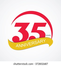 Template Logo 35 Anniversary Vector Illustration EPS10