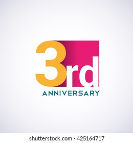 Template Logo 3rd anniversary red colored vector design for birthday celebration.